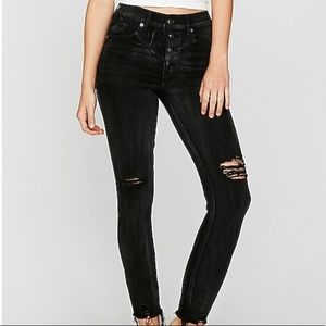 High waist button fly stretch ankle jean leggings